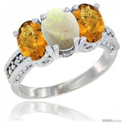 14K White Gold Natural Opal Ring with Whisky Quartz 3-Stone 7x5 mm Oval Diamond Accent