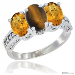 14K White Gold Natural Tiger Eye Ring with Whisky Quartz 3-Stone 7x5 mm Oval Diamond Accent