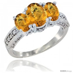14k White Gold Ladies Oval Natural Whisky Quartz 3-Stone Ring Diamond Accent