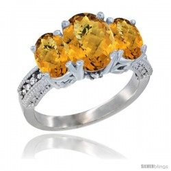 14K White Gold Ladies 3-Stone Oval Natural Whisky Quartz Ring Diamond Accent