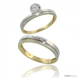 10k Yellow Gold Diamond Engagement Rings 2-Piece Set for Men and Women 0.08 cttw Brilliant Cut, 3mm & 4mm wide