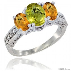 14k White Gold Ladies Oval Natural Lemon Quartz 3-Stone Ring with Whisky Quartz Sides Diamond Accent