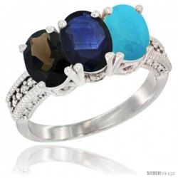 14K White Gold Natural Smoky Topaz, Blue Sapphire & Turquoise Ring 3-Stone 7x5 mm Oval Diamond Accent