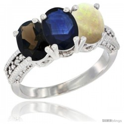 14K White Gold Natural Smoky Topaz, Blue Sapphire & Opal Ring 3-Stone 7x5 mm Oval Diamond Accent