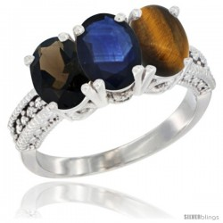14K White Gold Natural Smoky Topaz, Blue Sapphire & Tiger Eye Ring 3-Stone 7x5 mm Oval Diamond Accent