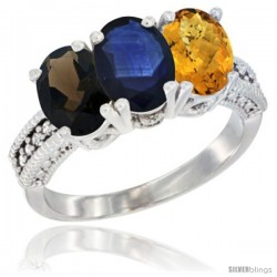 14K White Gold Natural Smoky Topaz, Blue Sapphire & Whisky Quartz Ring 3-Stone 7x5 mm Oval Diamond Accent