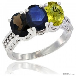 14K White Gold Natural Smoky Topaz, Blue Sapphire & Lemon Quartz Ring 3-Stone 7x5 mm Oval Diamond Accent