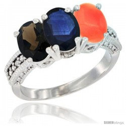 14K White Gold Natural Smoky Topaz, Blue Sapphire & Coral Ring 3-Stone 7x5 mm Oval Diamond Accent