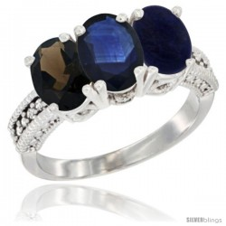 14K White Gold Natural Smoky Topaz, Blue Sapphire & Lapis Ring 3-Stone 7x5 mm Oval Diamond Accent