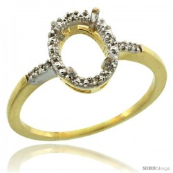 10k Gold Semi-Mount ( 8x6 mm ) Oval Stone Ring w/ 0.033 Carat Brilliant Cut Diamonds, 13/32 in. (10.5mm) wide