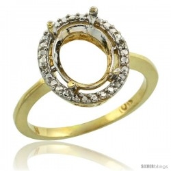 10k Gold Semi-Mount ( 10x8 mm ) Oval Stone Ring w/ 0.098 Carat Brilliant Cut Diamonds, 1/2 in. (13mm) wide