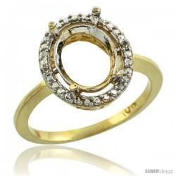 10k Gold Semi-Mount ( 10x8 mm ) Oval Stone Ring w/ 0.098 Carat Brilliant Cut Diamonds, 1/2 in. (13mm) wide
