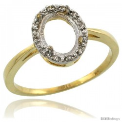 10k Gold Semi-Mount ( 8x6 mm ) Oval Stone Ring w/ 0.04 Carat Brilliant Cut Diamonds, 3/8 in. (10mm) wide