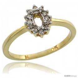 10k Gold Semi-Mount ( 5x3 mm ) Oval Stone Ring w/ 0.097 Carat Brilliant Cut Diamonds, 11/32 in. (8.5mm) wide
