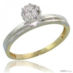 10k Yellow Gold Diamond Engagement Ring 0.05 cttw Brilliant Cut, 1/8 in wide -Style 10y006er
