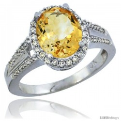 10K White Gold Natural Citrine Ring Oval 10x8 Stone Diamond Accent