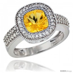 10K White Gold Natural Citrine Ring Cushion-cut 7x7 Stone Diamond Accent