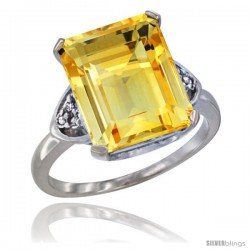 10K White Gold Natural Citrine Ring Emerald-shape 12x10 Stone Diamond Accent