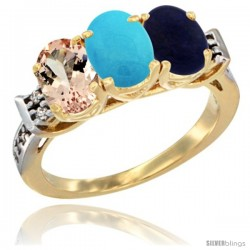 10K Yellow Gold Natural Morganite, Turquoise & Lapis Ring 3-Stone Oval 7x5 mm Diamond Accent
