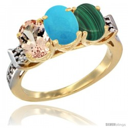 10K Yellow Gold Natural Morganite, Turquoise & Malachite Ring 3-Stone Oval 7x5 mm Diamond Accent