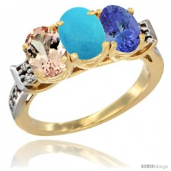 10K Yellow Gold Natural Morganite, Turquoise & Tanzanite Ring 3-Stone Oval 7x5 mm Diamond Accent