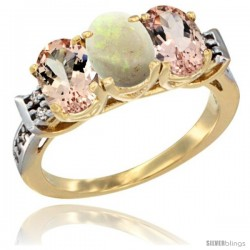 10K Yellow Gold Natural Opal & Morganite Sides Ring 3-Stone Oval 7x5 mm Diamond Accent