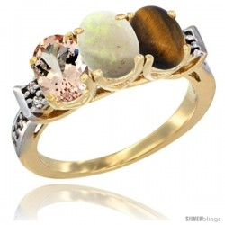 10K Yellow Gold Natural Morganite, Opal & Tiger Eye Ring 3-Stone Oval 7x5 mm Diamond Accent