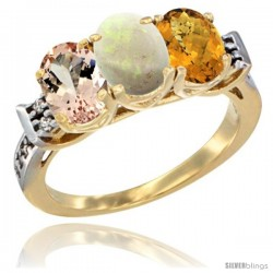 10K Yellow Gold Natural Morganite, Opal & Whisky Quartz Ring 3-Stone Oval 7x5 mm Diamond Accent