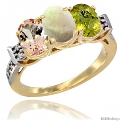 10K Yellow Gold Natural Morganite, Opal & Lemon Quartz Ring 3-Stone Oval 7x5 mm Diamond Accent