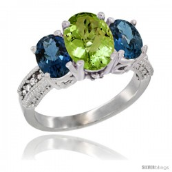 10K White Gold Ladies Natural Peridot Oval 3 Stone Ring with London Blue Topaz Sides Diamond Accent
