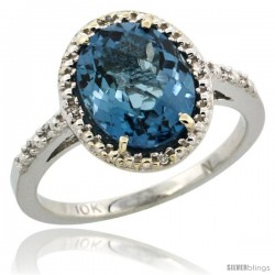 10k White Gold Diamond London Blue Topaz Ring 2.4 ct Oval Stone 10x8 mm, 1/2 in wide -Style Cw905111