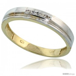 10k Yellow Gold Mens Diamond Wedding Band Ring 0.03 cttw Brilliant Cut, 5/32 in wide