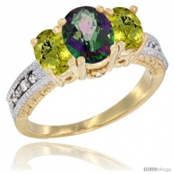 14k Yellow Gold Ladies Oval Natural Mystic Topaz 3-Stone Ring with Lemon Quartz Sides Diamond Accent