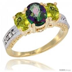 14k Yellow Gold Ladies Oval Natural Mystic Topaz 3-Stone Ring with Lemon Quartz Sides Diamond Accent