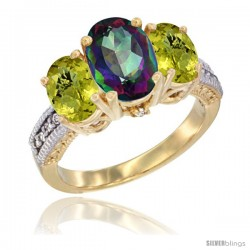 14K Yellow Gold Ladies 3-Stone Oval Natural Mystic Topaz Ring with Lemon Quartz Sides Diamond Accent