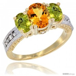 14k Yellow Gold Ladies Oval Natural Citrine 3-Stone Ring with Lemon Quartz Sides Diamond Accent