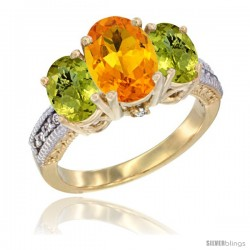 14K Yellow Gold Ladies 3-Stone Oval Natural Citrine Ring with Lemon Quartz Sides Diamond Accent