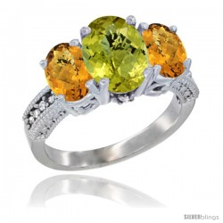 14K White Gold Ladies 3-Stone Oval Natural Lemon Quartz Ring with Whisky Quartz Sides Diamond Accent
