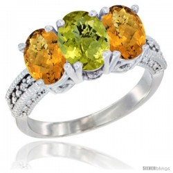14K White Gold Natural Lemon Quartz Ring with Whisky Quartz 3-Stone 7x5 mm Oval Diamond Accent