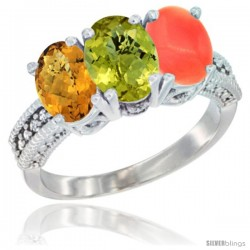 14K White Gold Natural Whisky Quartz, Lemon Quartz Ring with Coral Ring 3-Stone 7x5 mm Oval Diamond Accent