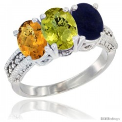 14K White Gold Natural Whisky Quartz, Lemon Quartz Ring with Lapis Ring 3-Stone 7x5 mm Oval Diamond Accent