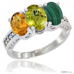 14K White Gold Natural Whisky Quartz, Lemon Quartz Ring with Malachite Ring 3-Stone 7x5 mm Oval Diamond Accent