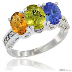14K White Gold Natural Whisky Quartz, Lemon Quartz Ring with Tanzanite Ring 3-Stone 7x5 mm Oval Diamond Accent