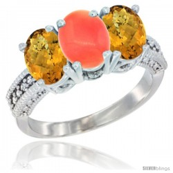 14K White Gold Natural Coral Ring with Whisky Quartz 3-Stone 7x5 mm Oval Diamond Accent