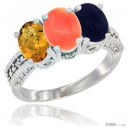 14K White Gold Natural Whisky Quartz, Coral Ring with Lapis Ring 3-Stone 7x5 mm Oval Diamond Accent