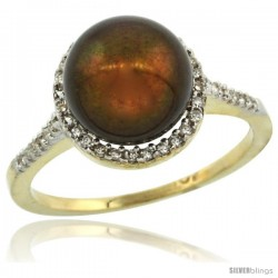 10k Gold Halo Engagement 8.5 mm Brown Pearl Ring w/ 0.146 Carat Brilliant Cut Diamonds, 7/16 in. (11mm) wide