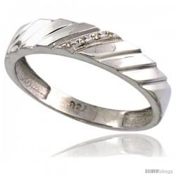 Sterling Silver Men's Diamond Wedding Ring Band, w/ 0.026 Carat Brilliant Cut Diamonds, 3/16 in. (5mm) wide