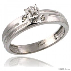 Sterling Silver Diamond Engagement Ring w/ 0.03 Carat Brilliant Cut Diamonds, 5/32 in. (4.5mm) wide