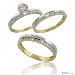 10k Yellow Gold Diamond Trio Engagement Wedding Rings Set for Him 4mm & Her 3 mm 3-piece 0.10 cttw Brilliant Cut