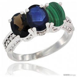 14K White Gold Natural Smoky Topaz, Blue Sapphire & Malachite Ring 3-Stone 7x5 mm Oval Diamond Accent